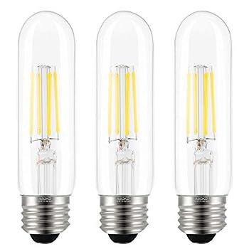 T10 LED Bulbs Daylight 4000K LED Tubular Edison Light Bulbs 4W Dimmable Tube Vintage Led Bulbs 40 Watt Equivalent,E26 Medium Base LED Filament Retro Bulb for Desk Lamp Pendant Lights 3-Pack