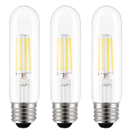 T10 LED Bulbs Daylight 4000K LED Tubular Edison Light Bulbs 4W Dimmable Tube Vintage Led Bulbs 40 Watt Equivalent,E26 Medium Base, LED Filament Retro Bulb for Desk Lamp, Pendant Lights(3-Pack)