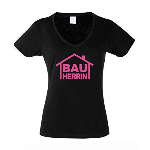 Bauherrin - Damen T-Shirt mit V-Ausschnitt als Geschenk zum Richtfest | zur Einweihungsfeier | zum Hausbau, L, schwarz-pink