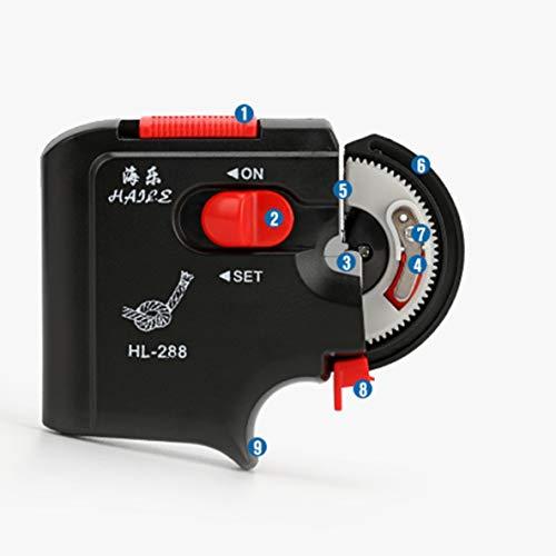 nbvmngjhjlkjl Vollautomatisches elektrisches Angelhaken-Tier-Maschinenzubehör zum schnellen Binden von Angelhaken Angelschnur-Bindegerät (schwarz)