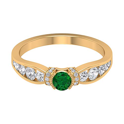 Rosec Jewels 14 quilates oro amarillo redonda round-brilliant-shape H-I Green Diamond Emerald