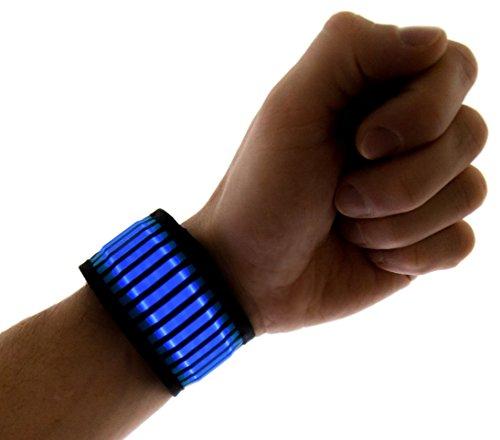 NEON NIGHTLIFE LED Slap Band Bracelet/Armband, Striped Blue