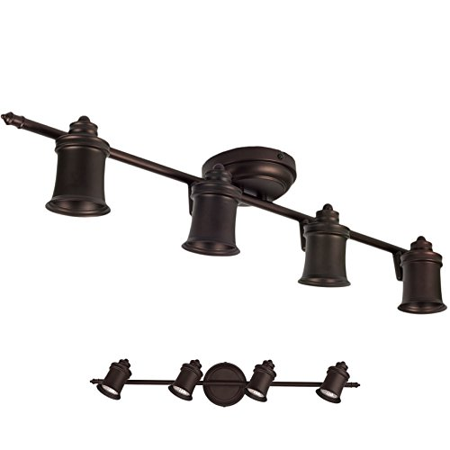 4 Light Track Lighting Wall and Ceiling Mount Fixture Kitchen and Dining Room, Oil Rubbed Bronze