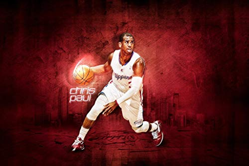 WOAIC Chris Paul Los Angeles Clippers Basketball NBA Poster for Bar Cafe Home Decor Painting Wall Sticker Frameless 24X36 Inch(60X90CM)