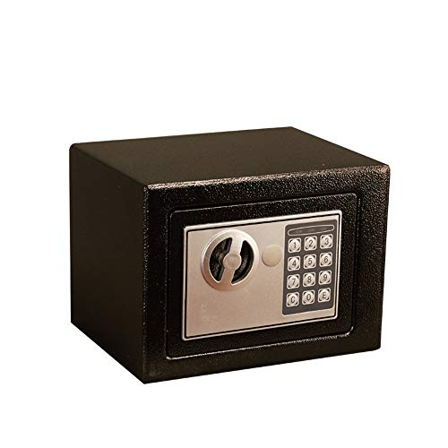 Zhicaikeji Caja Fuerte Ministerio del Interior Cash Money Box Caja de Seguridad Mini Hogar Digital electrónica Caja de Seguridad Acero Seguro para Oficina (Color : Black, Size : 23x17x17cm)