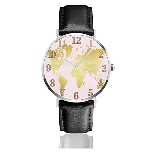 Reloj de Pulsera Mapa Dorado Respaldo Rosa Correa de Cuero sintético Duradero Relojes de Negocios de Cuarzo Reloj de Pulsera Informal Unisex