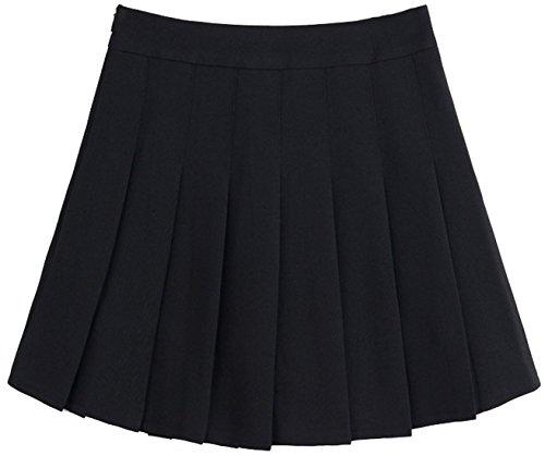 chouyatou Women's Simple High Waist All Around Pleated A-Line Skirt (Large, Black)