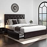 Allewie Queen Platform Bed Frame with 4 Drawers and Headboard/Diamond Stitched Button Tufted Upholstered Mattress Foundation with Storage, Brown