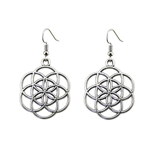 Handgemachte Antique Silver Color Simple Flower Of Life, Seed Of Life Drop Ohrringe Für Frauen