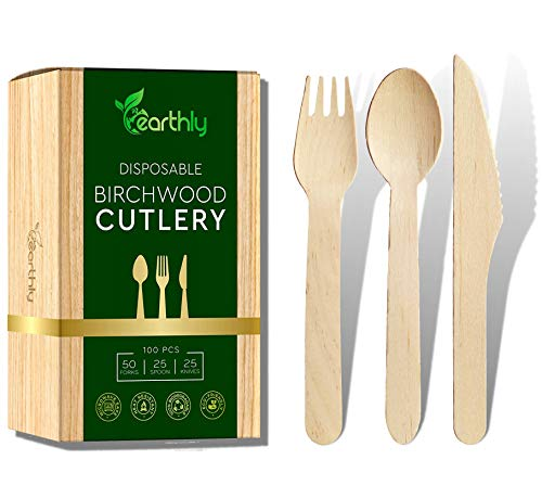 EARTHLY - Disposable Wooden Cutlery Set - Eco-Friendly Biodegradable Compostable Disposable Utensils - Bamboo Like Quality 100 Cutlery Set