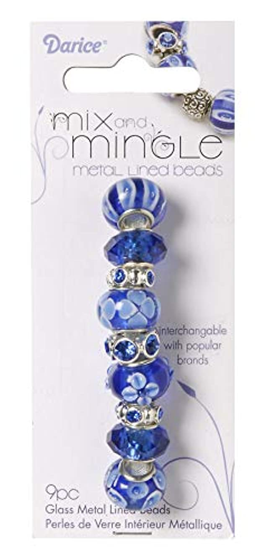 Darice Mingle Lined Blue Mix Glass Beads
