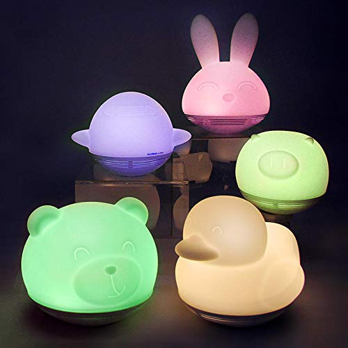 HaiMa MIPOW BTL302 Playbulb Zoocoro Smart Lights - Altavoces LED con forma de animales, carga inalámbrica, lámpara de noche regulable, decoración para regalos de Navidad para niños - Conejo