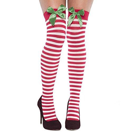 amscan 392369 Striped Christmas Thigh-High Socks with Green Ribbon