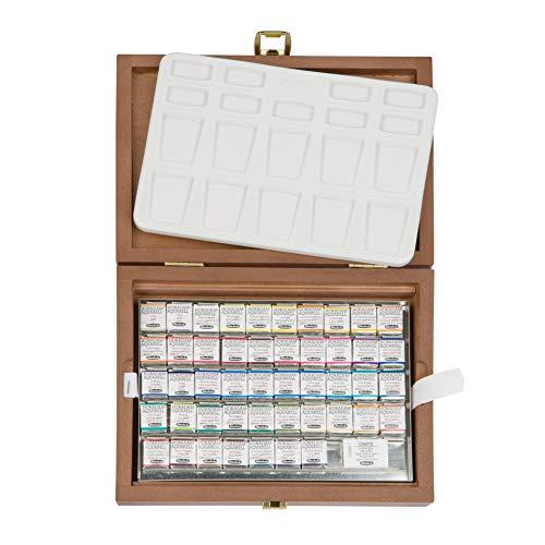 Schmincke – HORADAM AQUARELL Premium Farbkasten mit 47 Farben, ONetz und Porzellanpalette, 74548097, Holzkasten, Malset, feinste Aquarellfarben, 47 x 1/2 Näpfchen