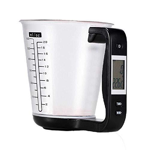 TUOLUO Pantalla LCD Taza De Temperatura Balanza De Cocina Vaso De Precipitados Digital Herramienta Electrónica Escala Temperatura Taza negro