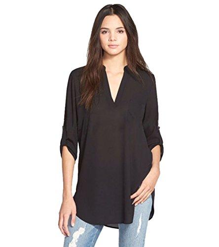 Blusas de Vestir Manga Larga Cuello en V Blusa Gasa Fiesta Camisas Mujer Camisetas Largas Elegantes Dama Bonitas Blusas Top para Señoras Blusones Anchas Camiseta Casual Suelto Grande Negro 3XL