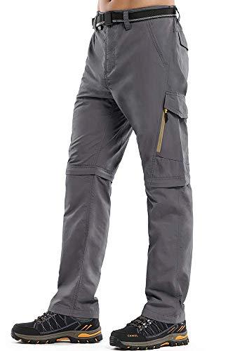 Jessie Kidden Mens Cargo Trousers Walking Hiking Lightweight Tactical Adventure Zip Off Convertible Quick Dry Climbing Mountain Fishing Work Pants, 224 Grey, 32
