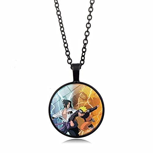 SSSXXX Anime Naruto rueda de escritura ojos Naruto Uchiha Itachi Sasuke colgante Collares Unisex Accesorio Cosplay Collar colgante Cadena de suéter para Niños y Niñas Adolescentes