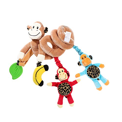 NUOBESTY Cartoon Hanging Toys Kid Baby Spiral Bed Stroller Toy Monkey Plush Toys Educational Rattle Toy for Car Seat Crib Mobile
