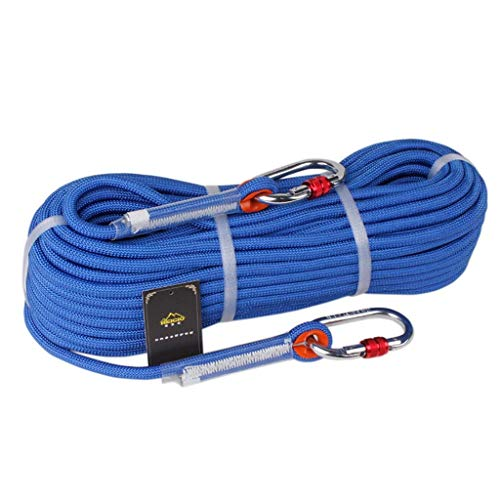 WSJ Outdoor Climbing Rope/Speed Drop Rope/Static Rope/Emergency Rescue Rope, High Strength Nylon Rope - Diameter 9mm, Blue (Size : 10m)