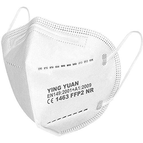 10 x FFP2 Schutz Maske Mundschutz Atemschutzmaske Zertifiziert CE1463 EN149:2001+A1:2009 - Atmungsaktives Falten mit Nasenklemme Weiß