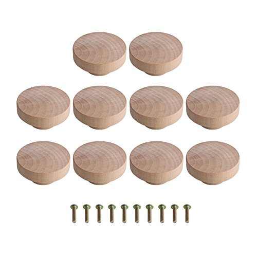 Lot de 10 boutons ronds en bois brut 50 x 25 mm