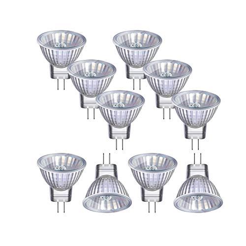 Vicloon Halogenlampen MR11, 10 Stück MR11/GU4 Halogen-Reflektor, 12V, 20 Watt, 300LM, 2800K Warmweiß 35mm Durchmesser Dimmbar Strahler Glühbirne mit GU4-Sockel, Geeignet für Zuhause, Büro