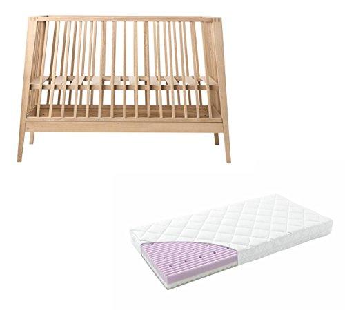 Linea by Leander - Lettino in rovere con materasso comfort, 60 x 120 cm