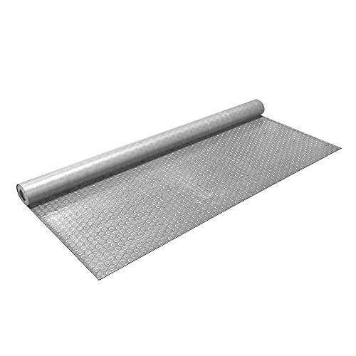 IncStores 1.6mm Thick Standard-Grade Nitro Roll Garage Floor Mat   Flexible Vinyl Floor Mat for a Stronger and Safer Garage, Workshop, or Trailer   Coin-Top, Stainless Steel, 7.5' x 17'