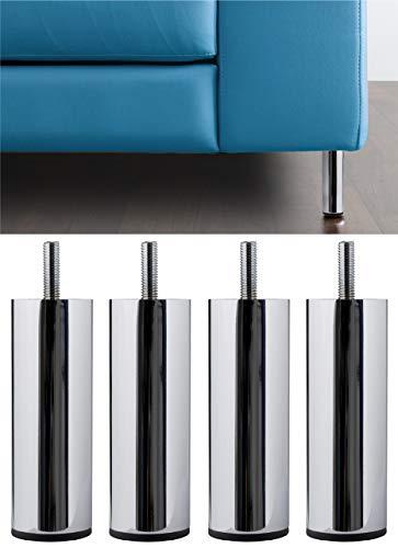 IPEA 4 Patas para sofás, Muebles, armarios, sillones Modelo Acquamarina - Juego de 4 Patas de Hierro - Patas de diseño Minimalista Color Metal Cromado, Altura 130 mm