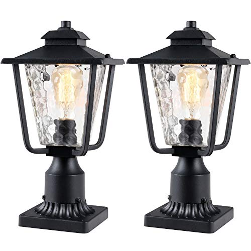 "Osimir Outdoor Post Light 2 Pack, Outdoor Post Lantern with Pier Mount Adapter (7.9""W x 13.4""H), Pier Light in Sanded Black Finish with Bubble Glass, Lamp Post Mount Lighting Fixture 2145-1G-2PK"