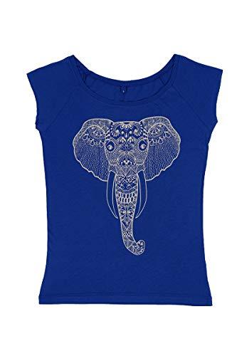 Yoga Studio Camiseta Unisex YS/RBlue/Tshirt/LGrey XL orgánico Natural, Talla XL, algodón Antibacteriano Azul Real para Yoga, Estampado a Mano, diseño de Elefante, Color Gris Claro, Ropa Vegana