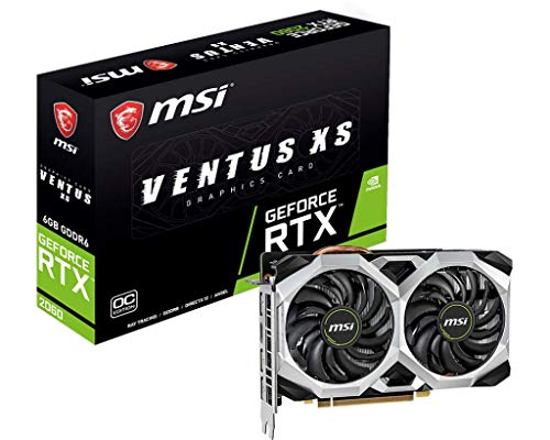 MSI Gaming GeForce RTX 2060 6GB GDRR6 192-bit HDMI DP Ray Tracing Turing Architecture VR Ready Graphics Card (RTX 2060 VENTUS XS 6G OC)