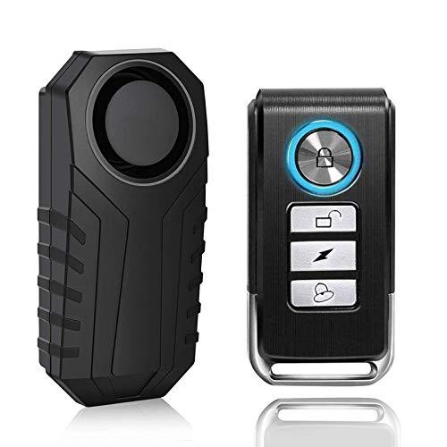 KINOEE Fahrrad-Alarm, Diebstahlsicherung, kabellos, mit Fernbedienung für Fahrrad-/Motorrad-Dreirad / Auto / Fenster, wasserdicht, Super starker Klang von 113 dB, 7 Stufen Empfindlichkeit