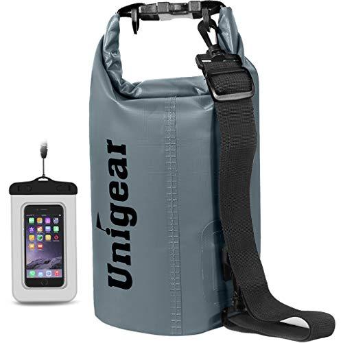 Unigear Dry Bag, 2L/5L/10L/20L/30L/40L, wasserdicht Taschen mit Handytasche und Gurte für Boot und Kajak, Angeln, Rafting, Schwimmen, Camping und Snowboarden, MEHRWEG (Grau, 2L)