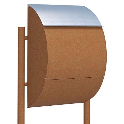 Standbriefkasten, Design Briefkasten Jumbo Rost/Edelstahl - Bravios