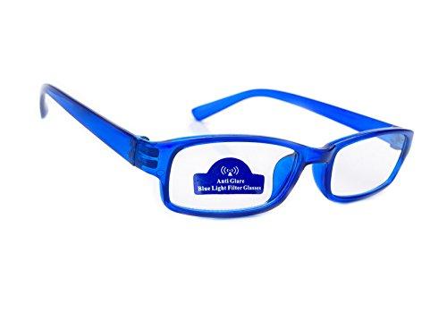 MFAZ Morefaz Ltd Slim Damen Herren Lesebrille +0.50 +0.75 +1.0 +1.5 +2.0 +2.5 Blue Light Filter Brille Blendschutz, Kratzfestes Objektiv Computer TV Anti Glare (3.5, Blue)