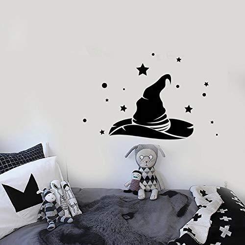 Hexenhut Wandtattoo Magier Zauberer Zauberer Magie Fee Fantasie Vinyl Fensteraufkleber Kinder Schlafzimmer Kinderzimmer Innendekoration 57X36 Cm