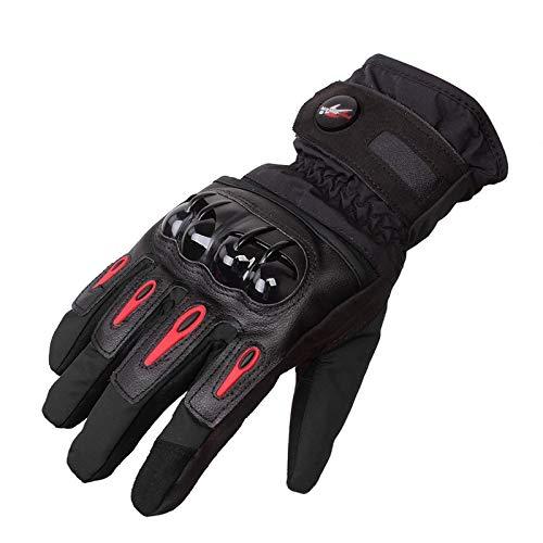 MXBIN Tough Screenn Vollfinger Schutz Motorrad Handschuhe wasserdichte Pro-Biker MTV-08 Werkzeugzubehör (Color : L Red)