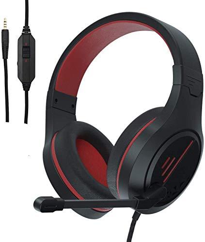 PS4-Gaming-Kopfhörer, SA920 3,5mm Gaming Headset mit Mikrofon-Lautstärkeregler für PC-Computer Xbox 360 Mac in Weiß und Schwarz