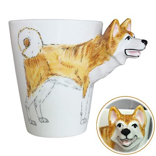 WEY&FLY 3D Hund große Kaffeetasse Keramik Tier Tasse Mugs Kaffeebecher als Geschenk mit Hunde Design für Tierfreunde,Hundeliebhaber,Handmade 325 ml (Akita)