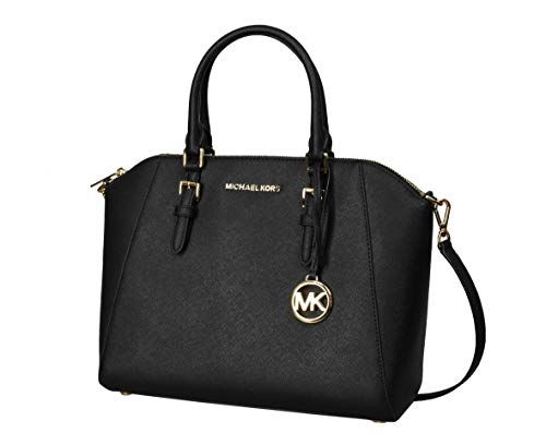 "Saffiano leather Top Zip Closure Satchel Messsenger Bag MK logo removable charm. Gold-tone hardware Detachable adjustable shoulder strap 16""-20"" drop. Approx:15"" (L) x 10"" (H) x 6 1/2"" (D) Inside Michael Kors signature nylon lining ,interior 4 slip a..."