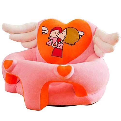 QqHAO Bebé aprenda a Sentarse en el sofá, Asiento de Dibujos Animados, bebés y niños pequeños Práctica Postura al Sentarse, Anti-vuelco,Rosado