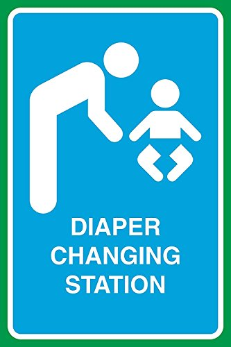 luier veranderen station print ouder kind baby badkamer groot teken, 12x18