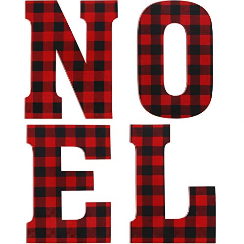 4 Pieces 12 Inch Christmas Buffalo Plaid Wooden Letters Unfinished Wooden Letters Large Noel Wooden Block Cutout Letters for Christmas Wall Decorations DIY Crafts