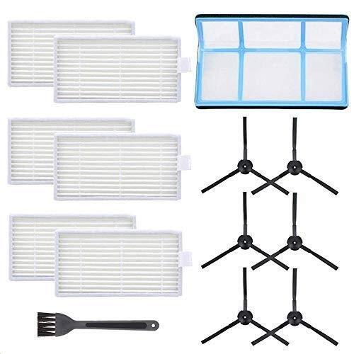 Yongenee Kit de filtro de vacío de repuesto para aspiradora robótica Ilife V3 V3S V5 V5S, filtros de aspiradora Pro Robot y 6 cepillos laterales y 1 filtro primario y 1 cepillo