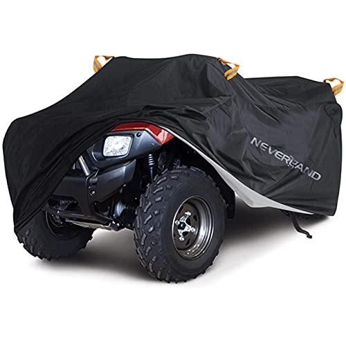 Quad ATV Abdeckplane NEVERLAND Fahrzeug Abdeckung ATV Schutz Cover 210D Oxford Stoff mit Reflektierende Streifen und Gummibänder Winterfest Staub Regen UV-Schutz Schwarz 256*110*120cm