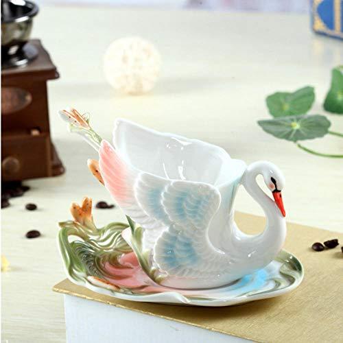 mytxfh Kaffeetassen 160 Ml 3D Schwan Kaffee Tee Tasse Untertasse Löffel Farbe Emaille Keramik Porzellan Kaffee Tee Sets Für Home Cafe Geschenk