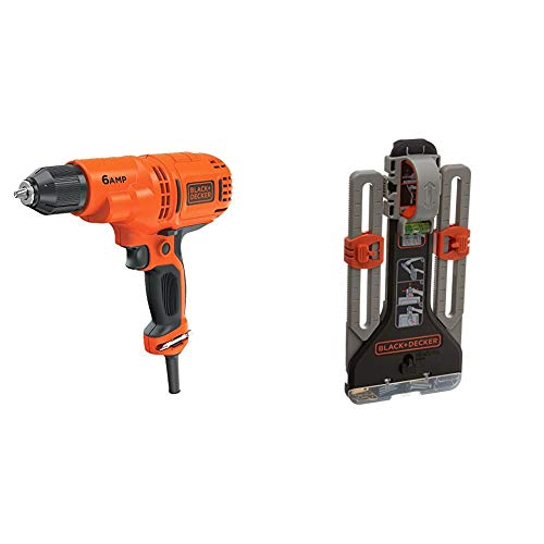 BLACK+DECKER Corded Drill, 6.0-Amp, 3/8-Inch with MarkIT Picture Hanging Kit (DR340C & BDMKIT101C)