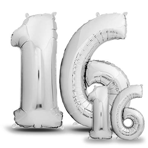 envami Luftballons 16. Geburtstag XXL Silber - Riesen Folienballon in 2 Größen 40
